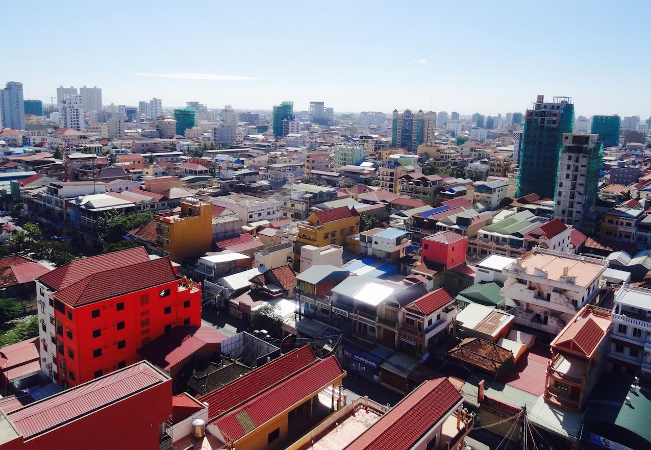 Phnom Penh skyline rooftop terrace Cambodia.