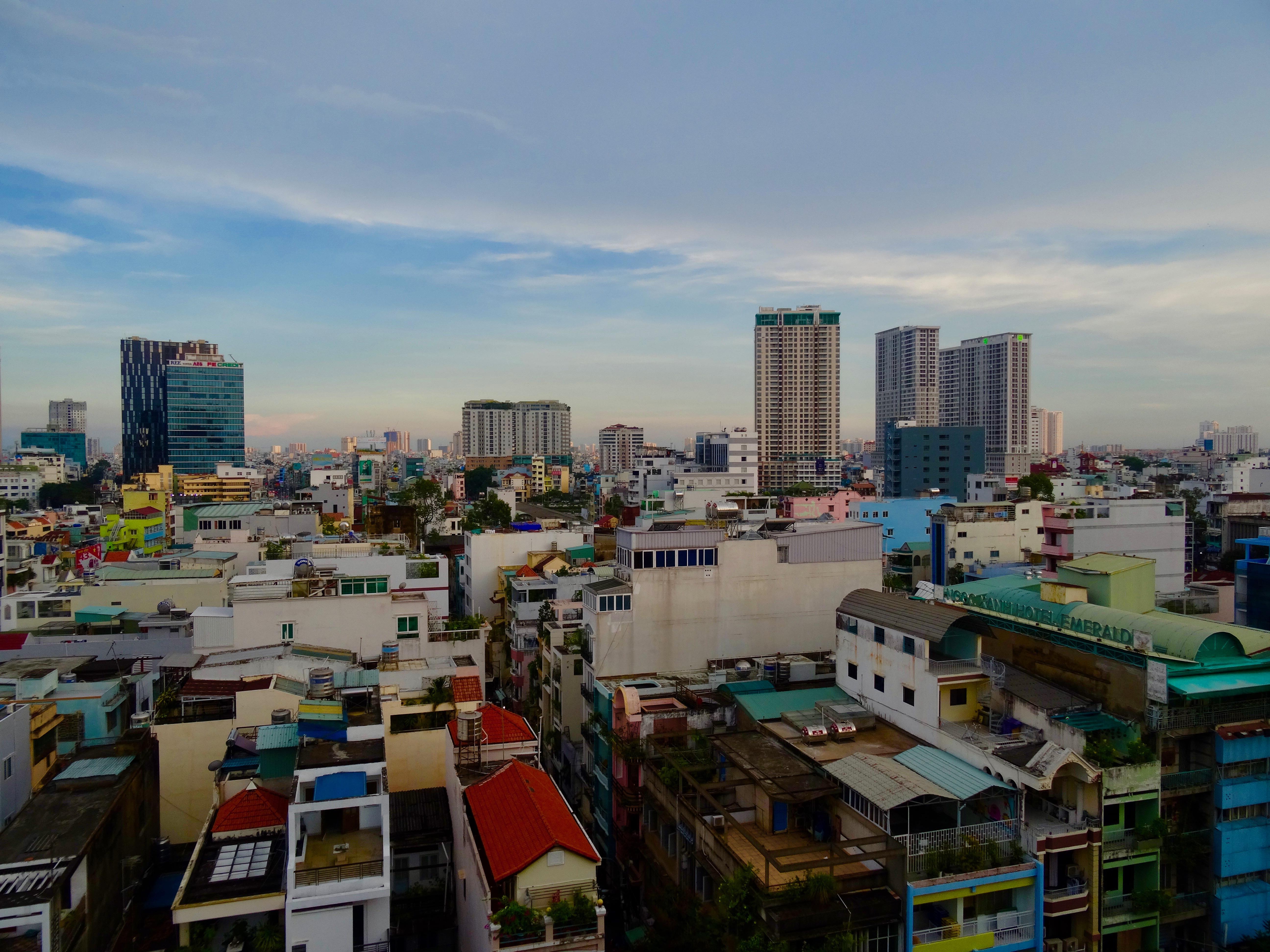 Ho Chi Minh skyline Vietnam. Ho Chi Minh travel guide.