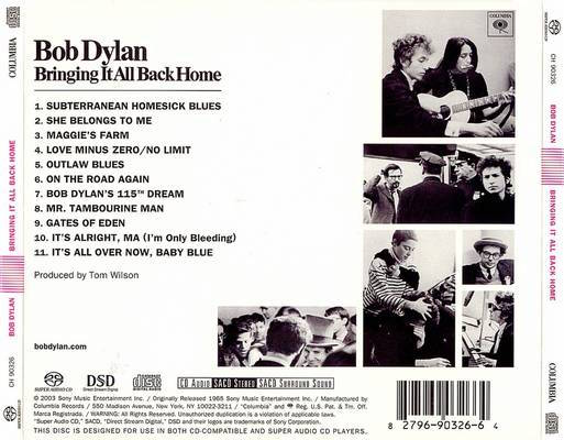 Back cover Bringing it all Back Home Bob Dylan album review