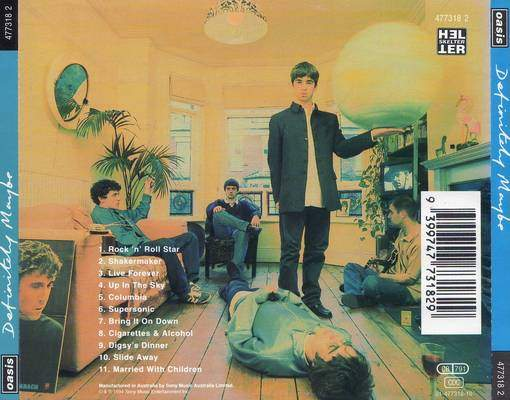 Definitely Maybe back cover Oasis album review
