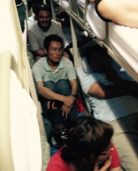 Overbooked bus from Shanghai to Qingdao China