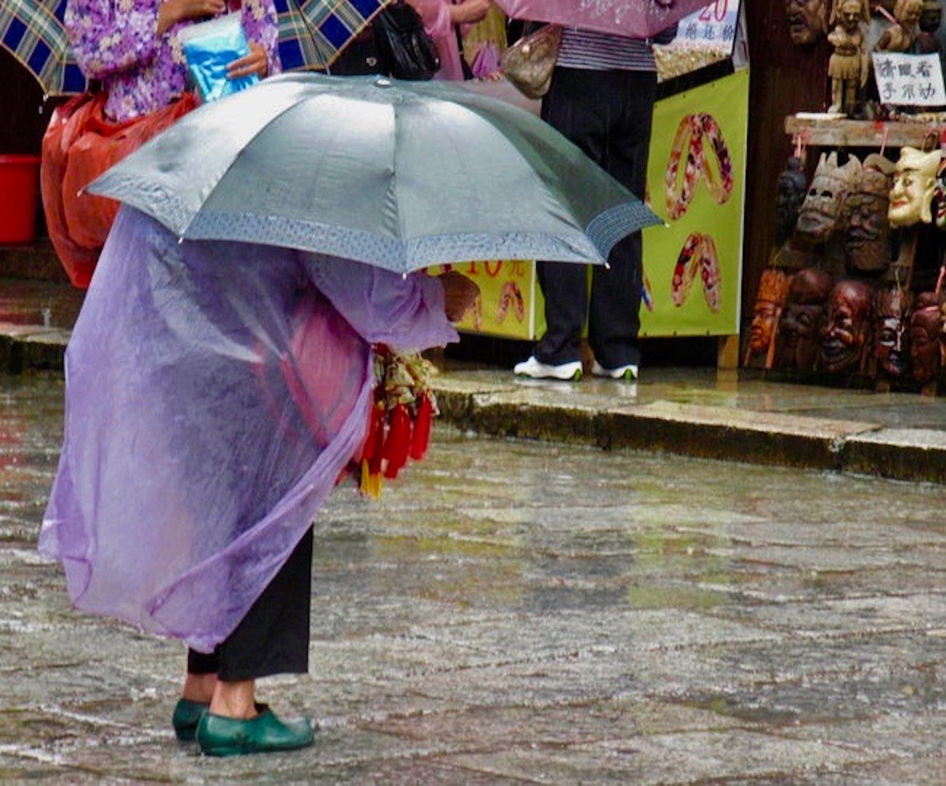 Rainy day Yangshuo Town Guangxi China