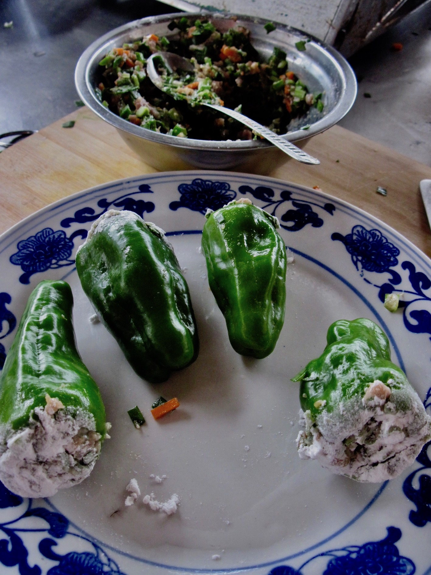 Stuffed peppers with pork Cloud 9 Restaurant and Cooking School Yangshuo Guangxi China