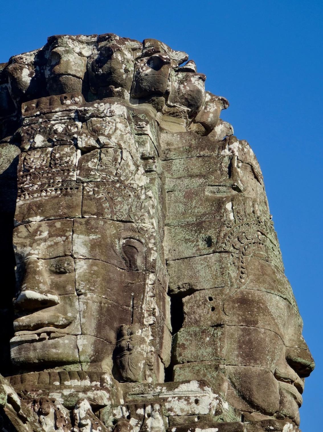 Stone faces Bayon Temple Angkor Siem Reap Cambodia