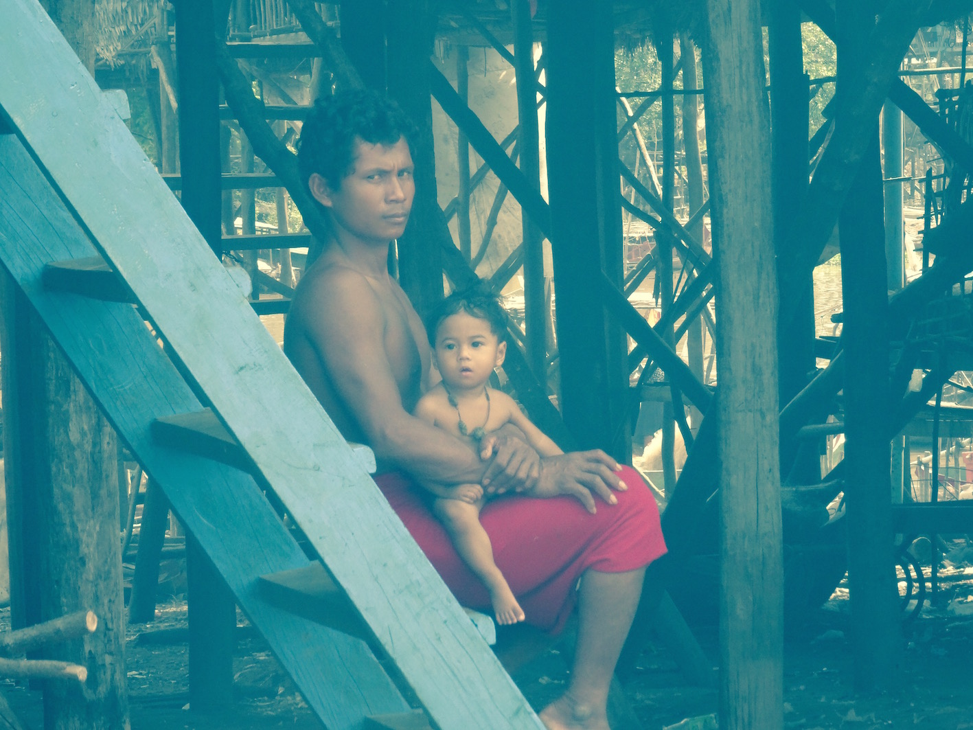 Father and son Kampong Phluk Siem Reap Cambodia