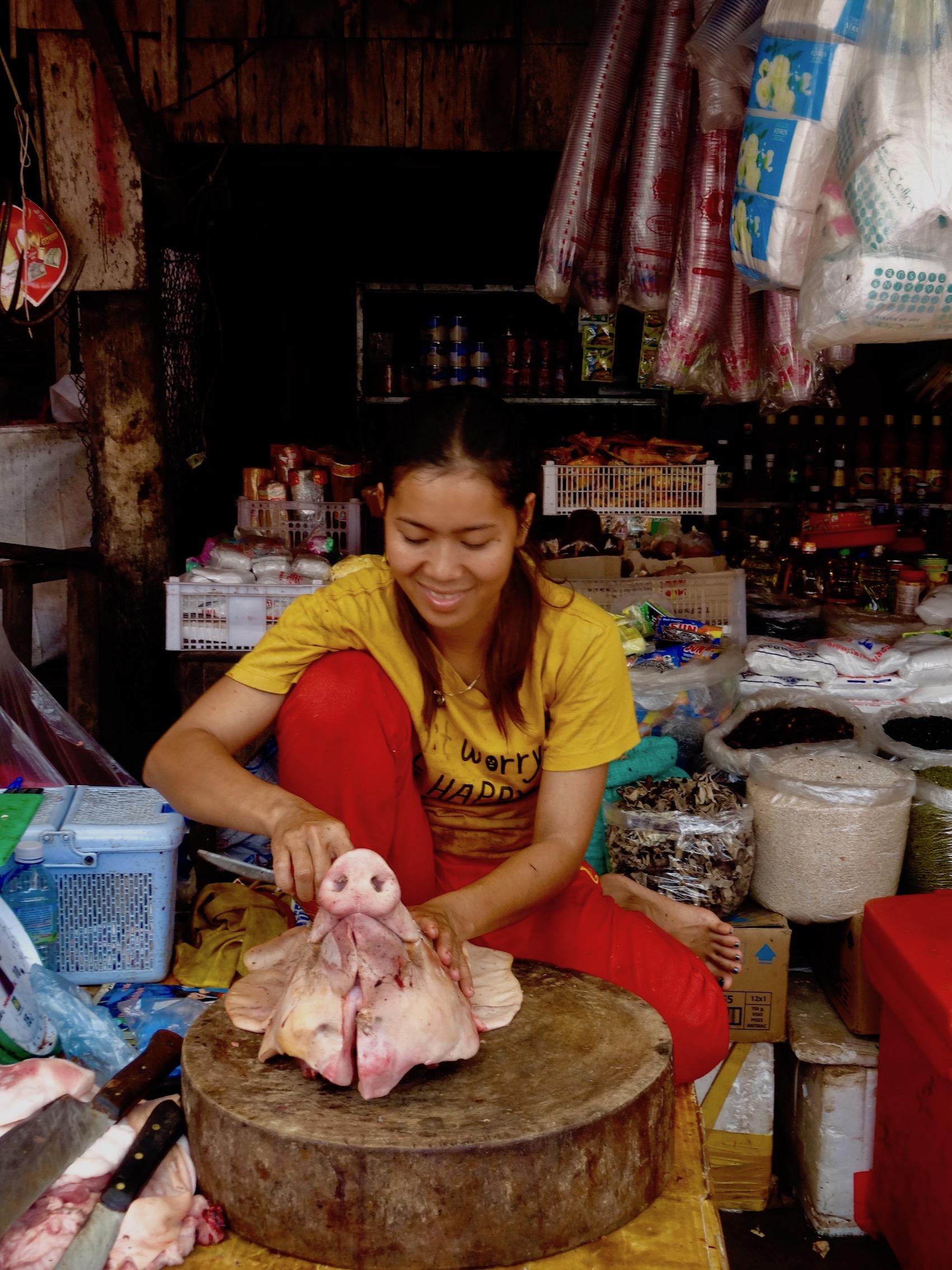 Pig's head Psar Leu Market Siem Reap Cambodia