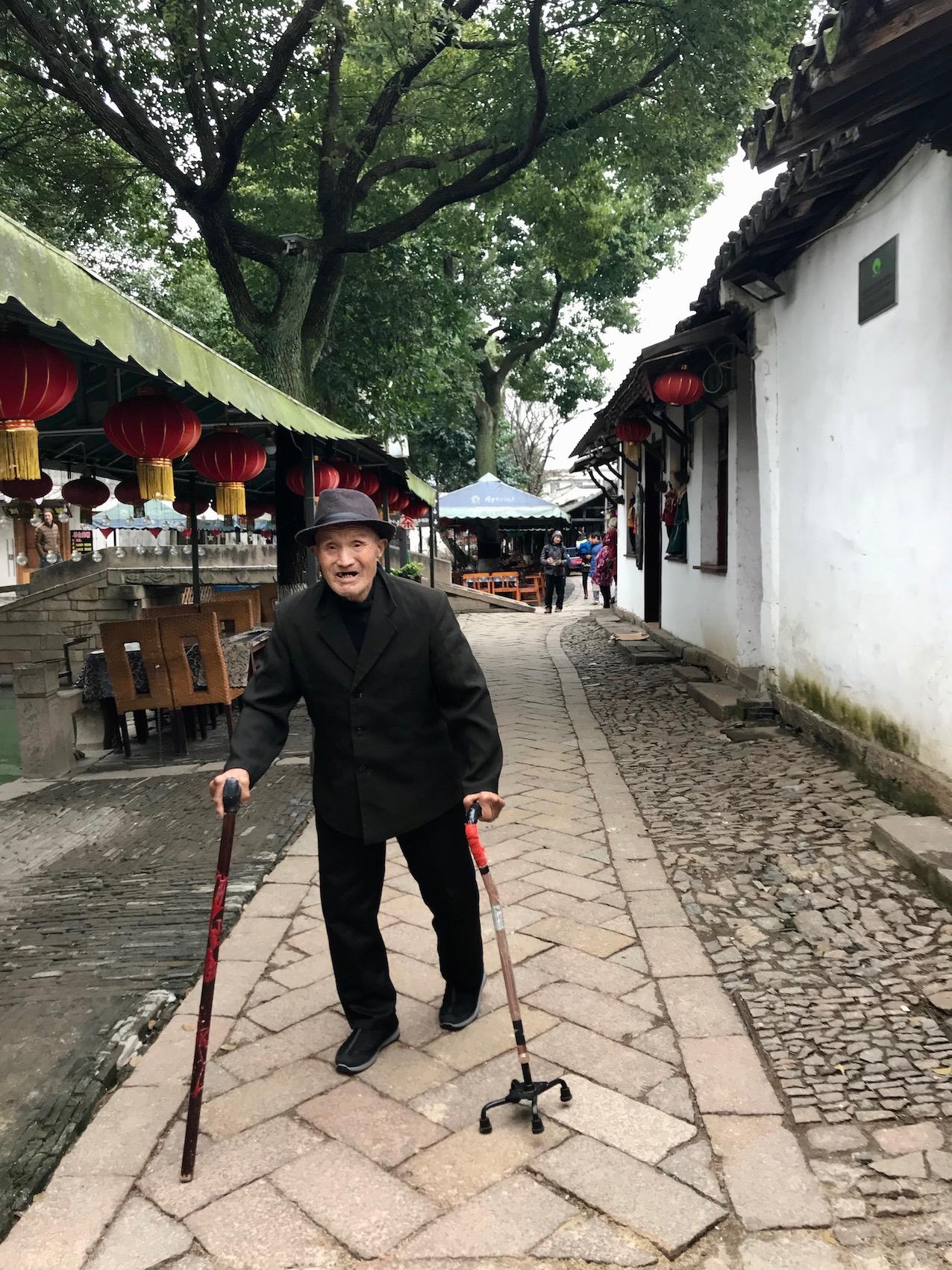 Old man Tongli Water Town Suzhou China