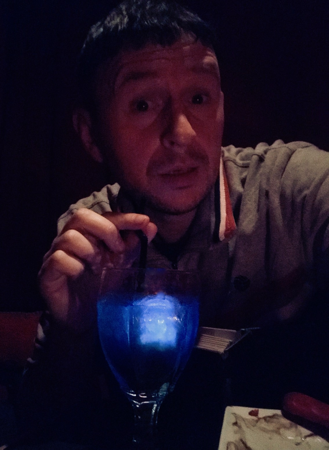 Blue Curacao cocktail with strawberry syrup bloodstains The Vampire Cafe Tokyo