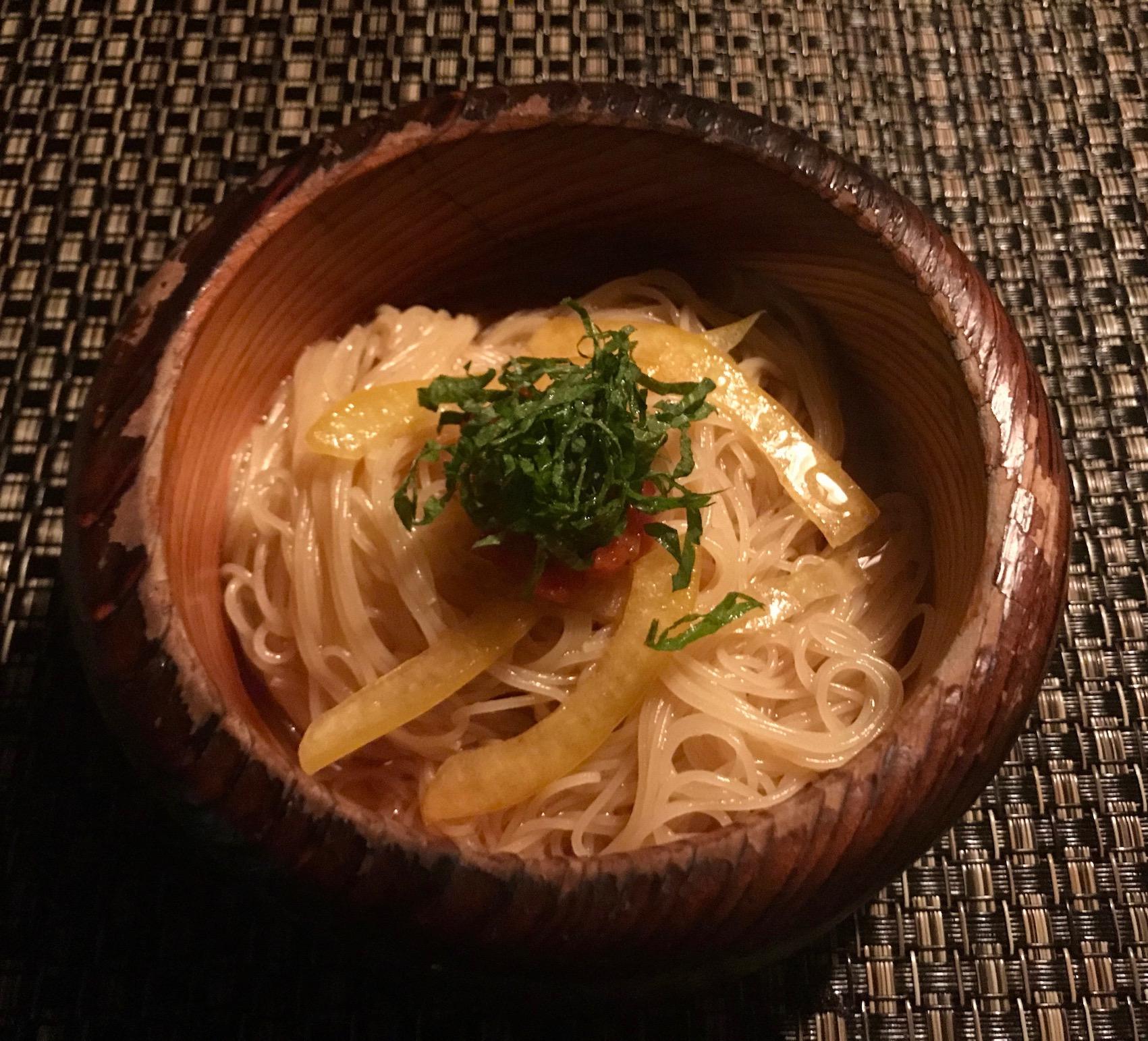 Capellini dish Ninja Akasaka Restaurant Tokyo