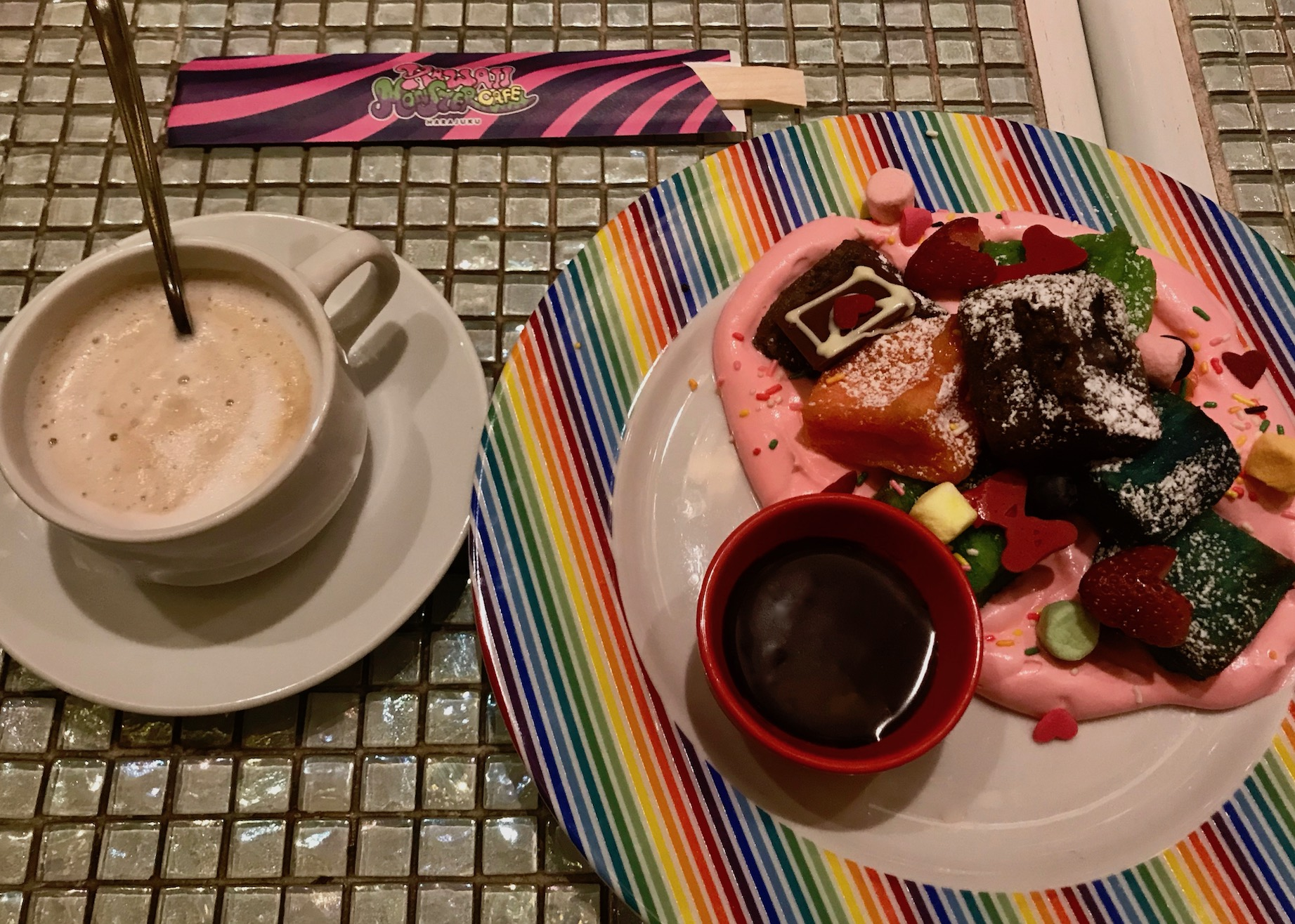 French Toast and strawberry mousse with coffee Kawaii Monster Cafe Tokyo