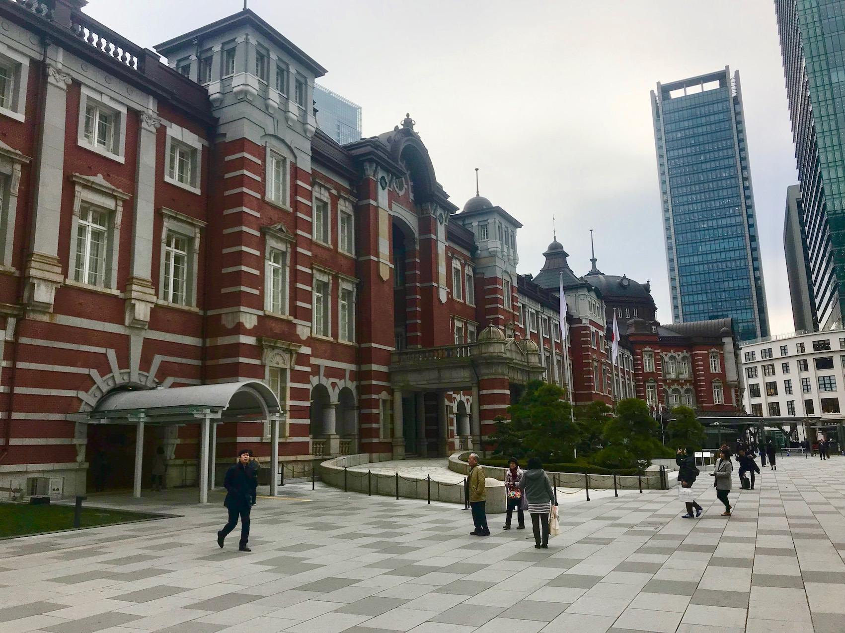 Outside Tokyo Station.