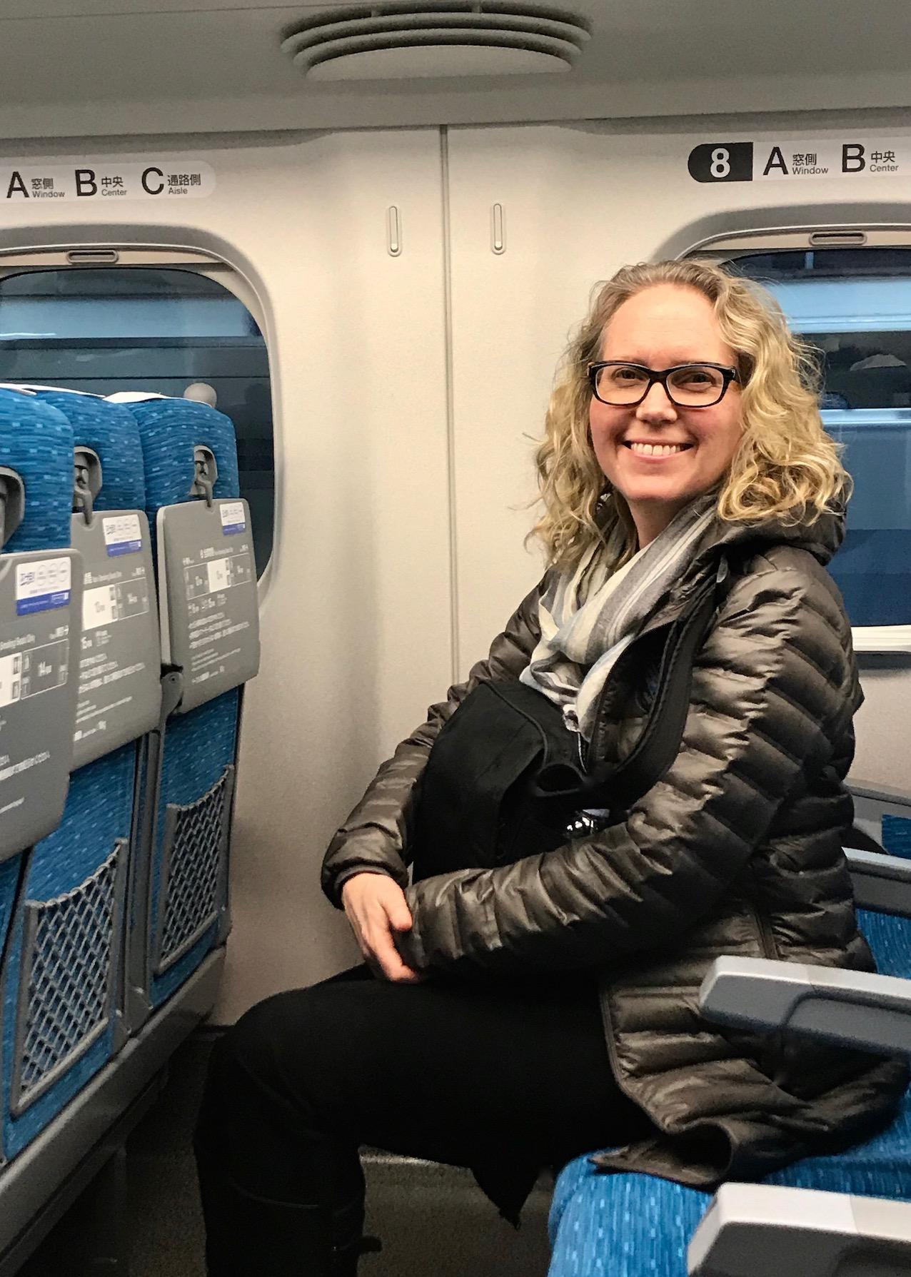 On the Shinkansen Bullet Train Japan.