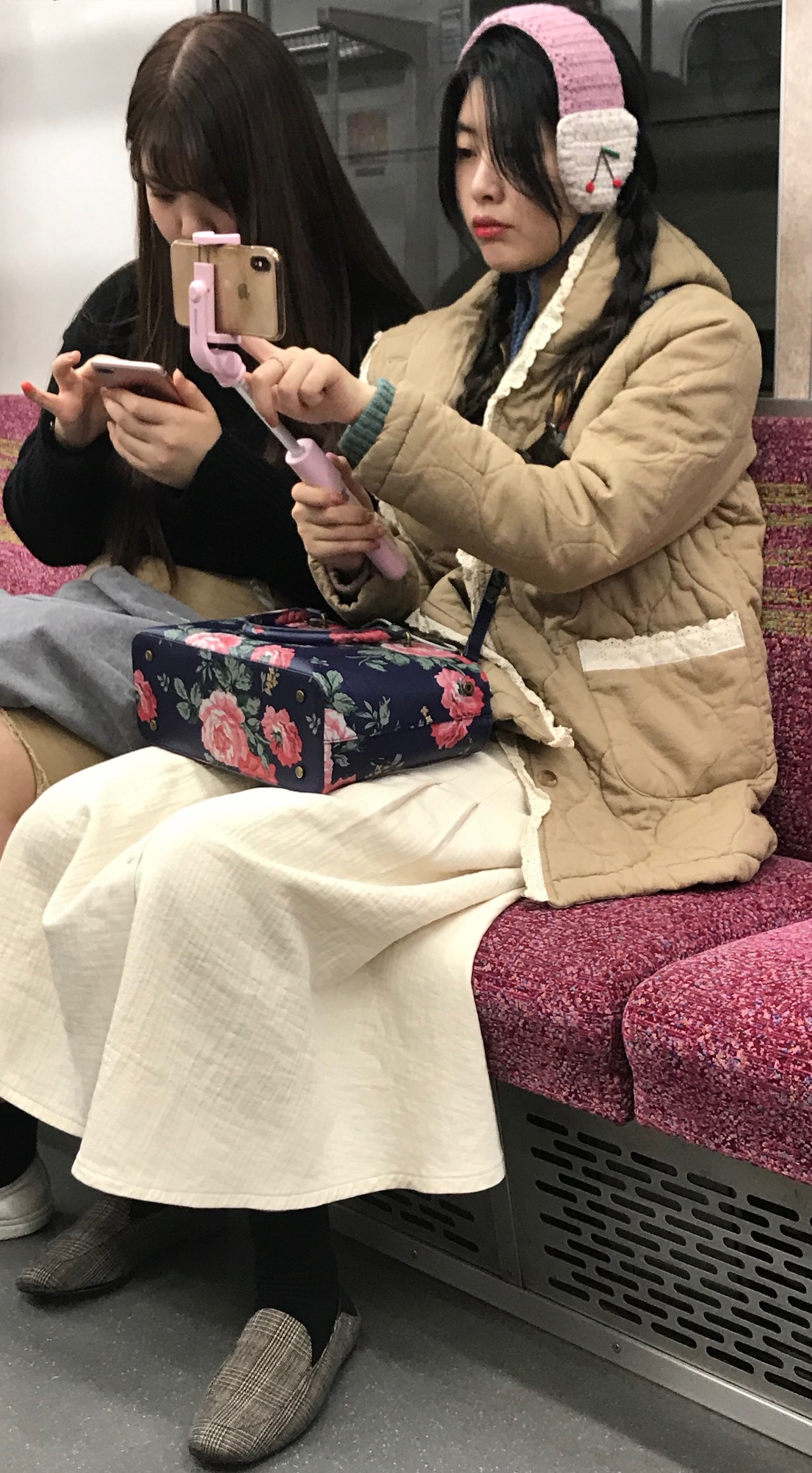 Selfie silliness on The Tokyo Subway.