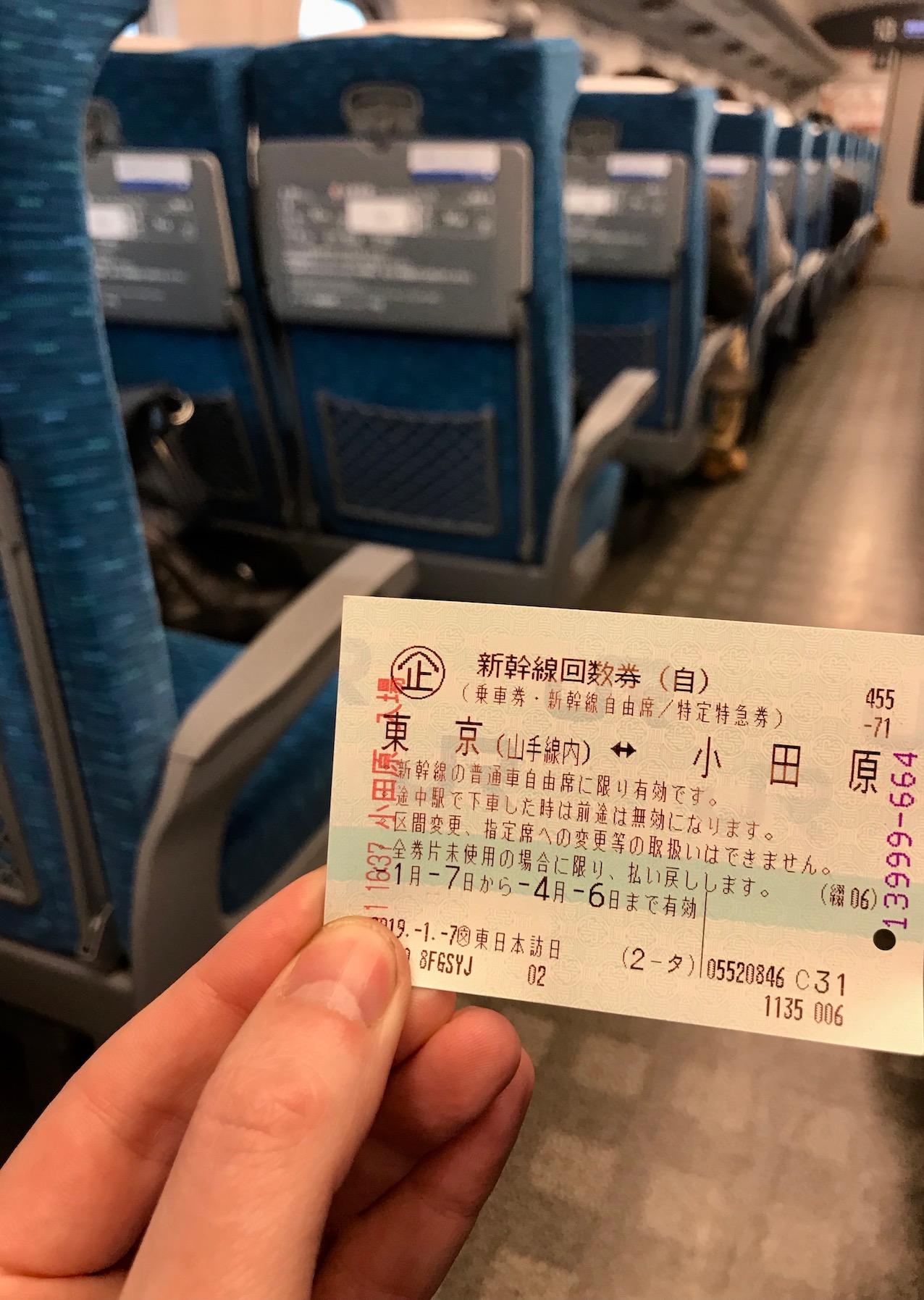 Shinkansen Bullet Train ticket Japan.