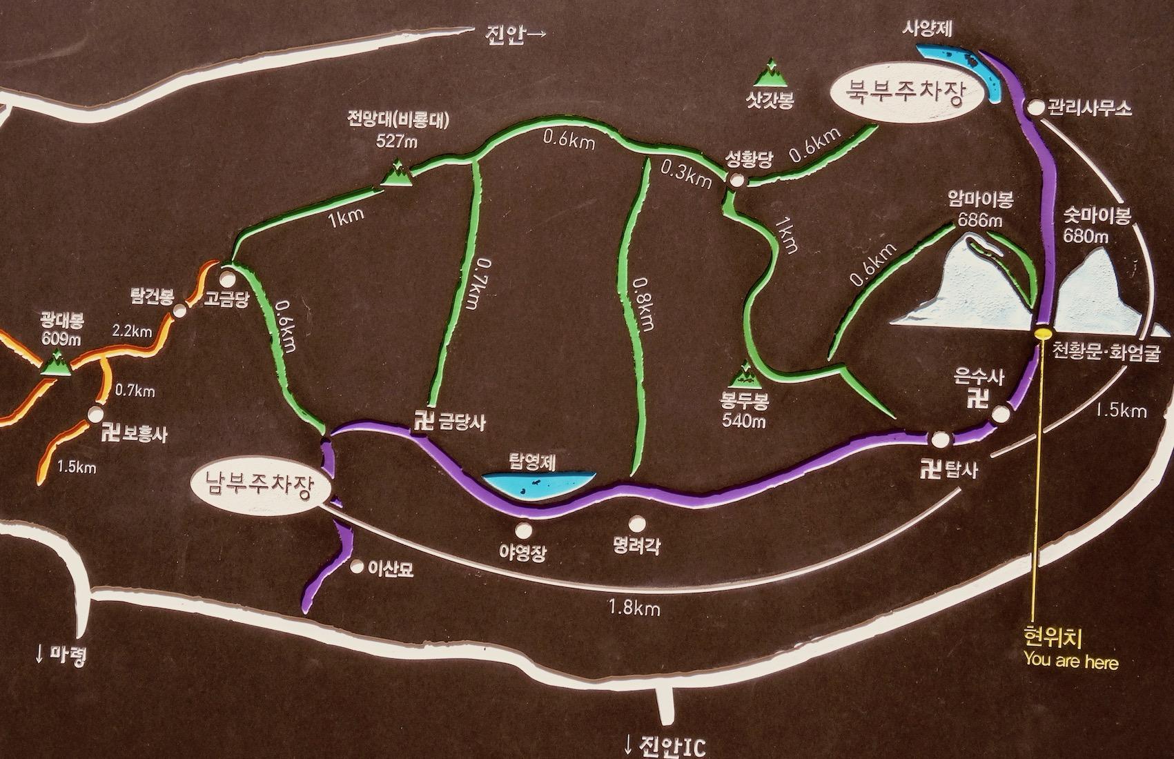 Map of Maisan Mountain Horse Ear Mountain South Korea.