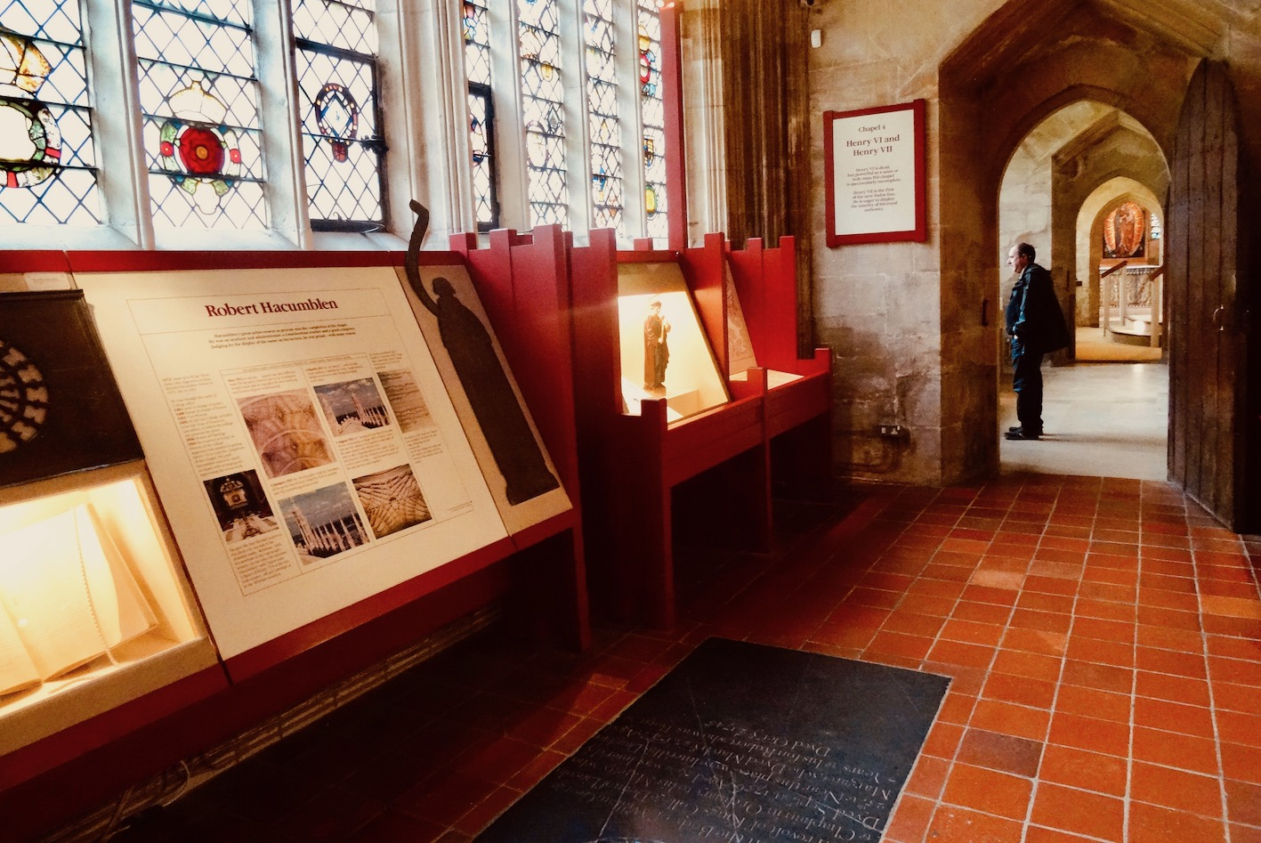 Historical exhibition at King's College Chapel Cambridge.