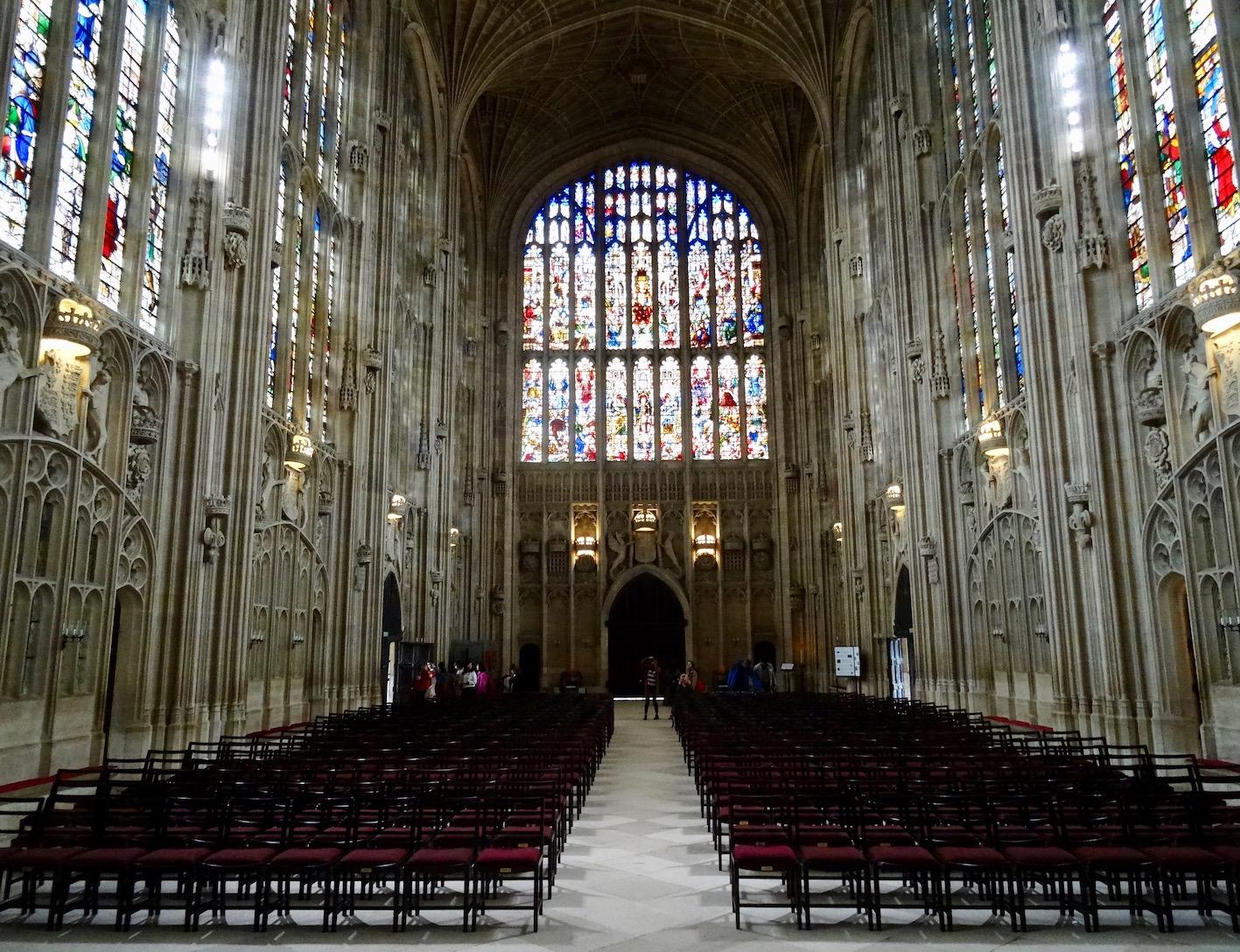 Inside King's College Chapel in Cambridge.