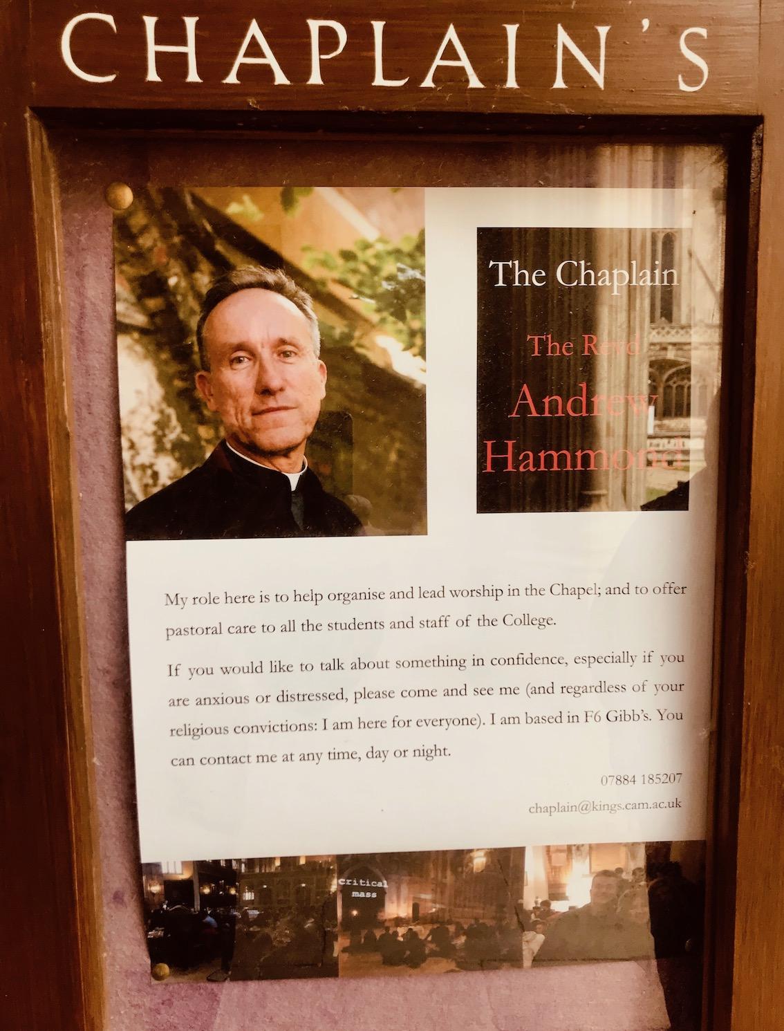 The Reverend Andrew Hammond King's Chapel Cambridge.