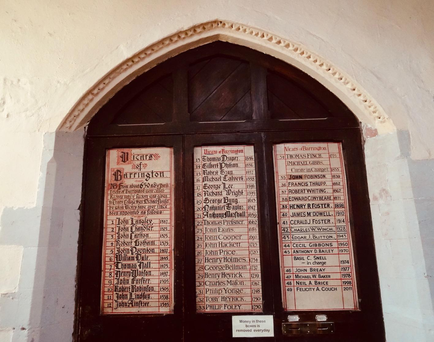 The Vicars of Barrington Cambridgeshire England.