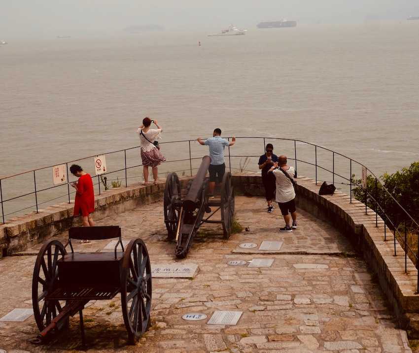 Sea views from Hulishan Fortress Xiamen China.