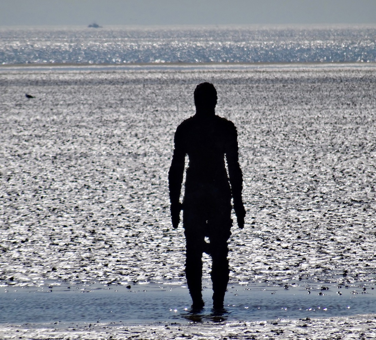 Statue in the Sand Antony Gormley Another Place Crosby Beach Liverpool.