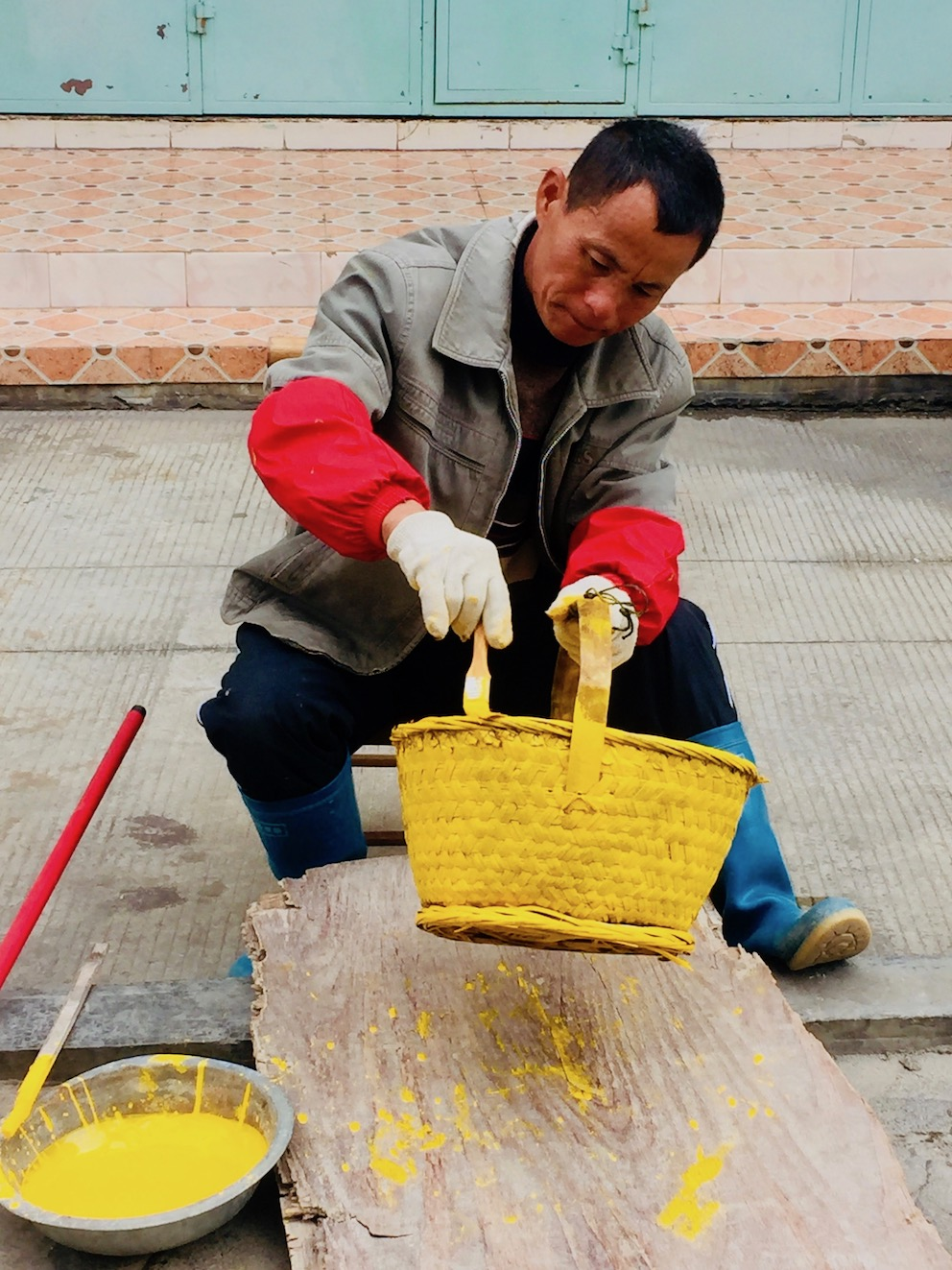 Yellow baskets Xunpu Oyster Village Quanzhou China