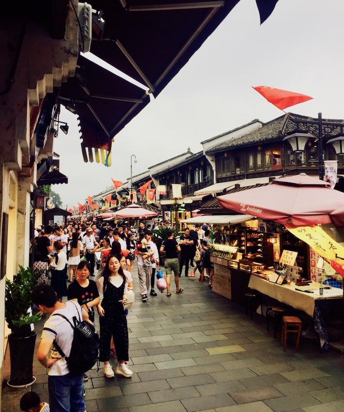 Busy Hefang Market Street Hangzhou China.