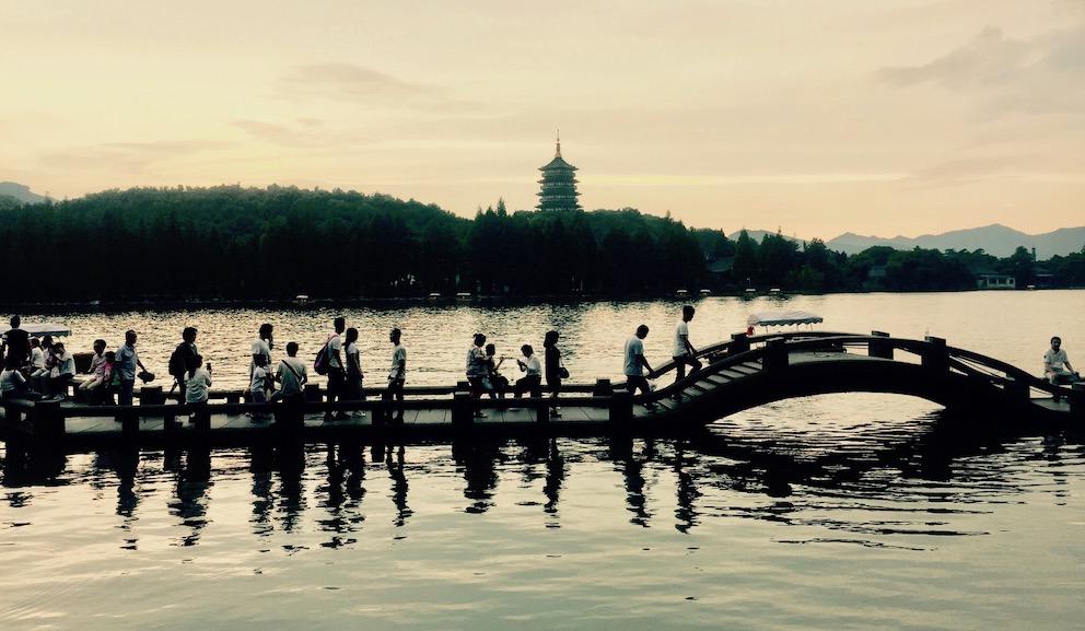 Dusk at Shuangtou Bridge West Lake Hangzhou.