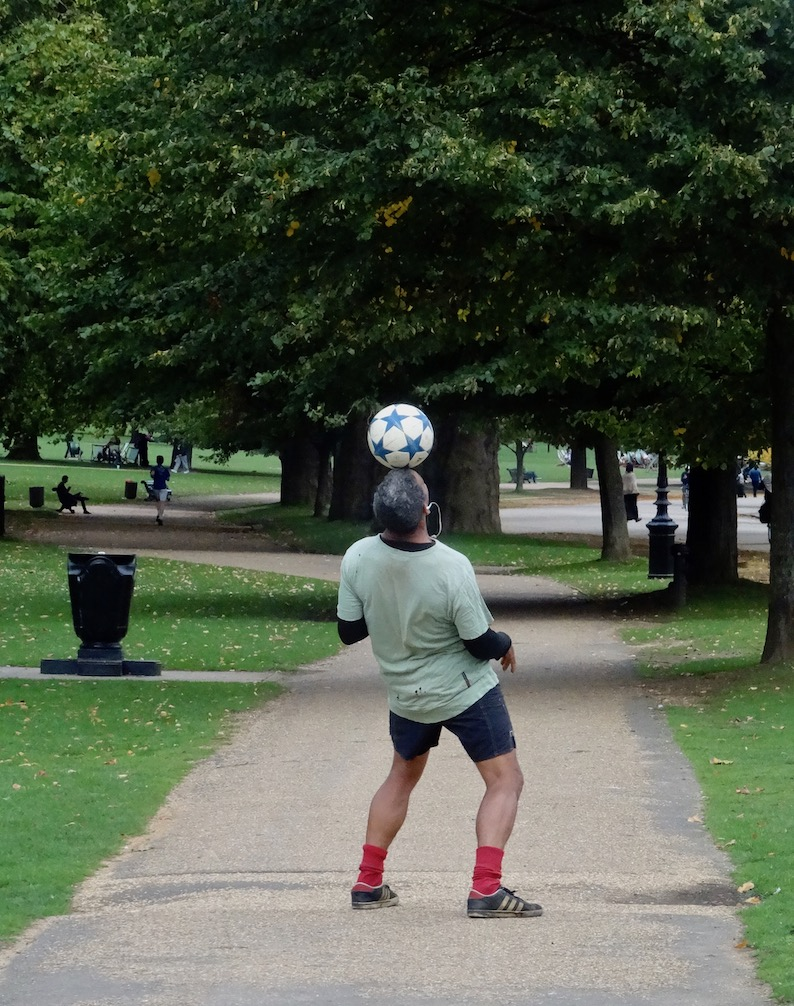 Football tricks Hyde Park London.