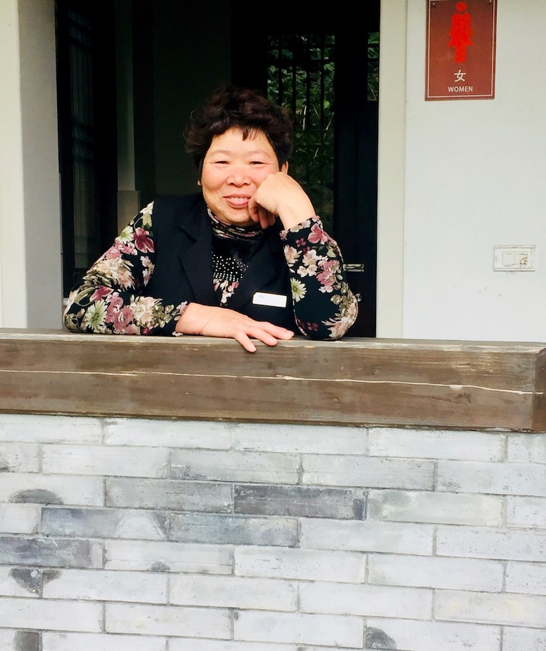 Friendly lady Shu Yuan National Park Yongjia County China.