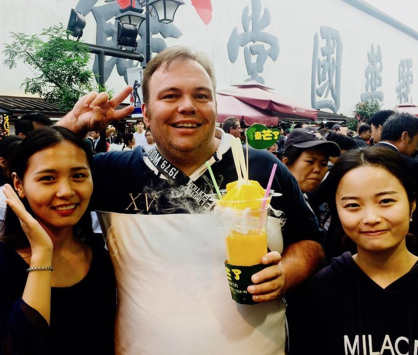 Giant mango shakes Hefang Market Street Hangzhou.