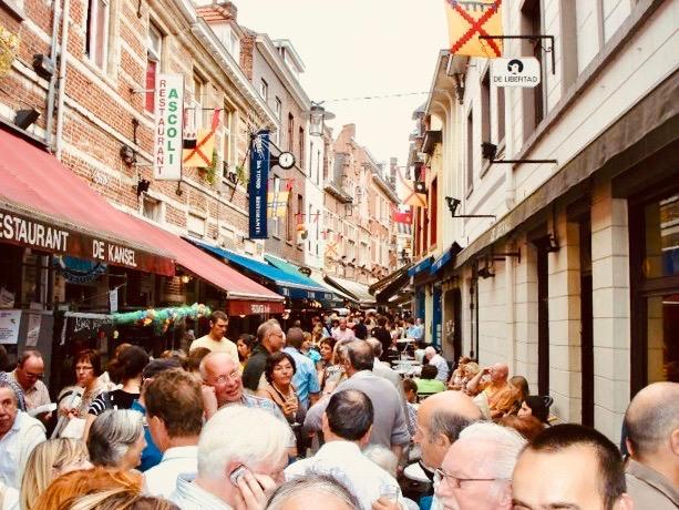 Muntstraat restaurant and bar street Leuven.