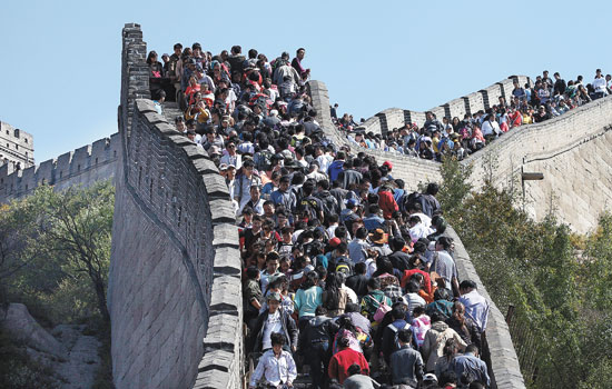 Very busy Badaling The Great Wall of China.