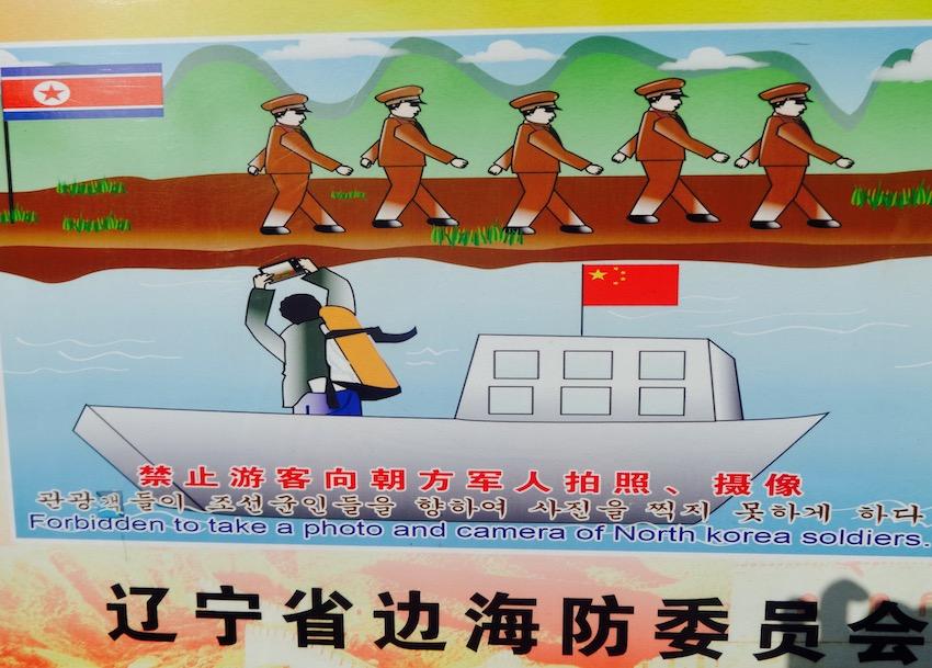 Warning sign at China North Korea border Tiger Mountain Dandong.