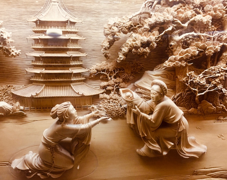 Wood carvings Leifeng Pagoda Hangzhou.