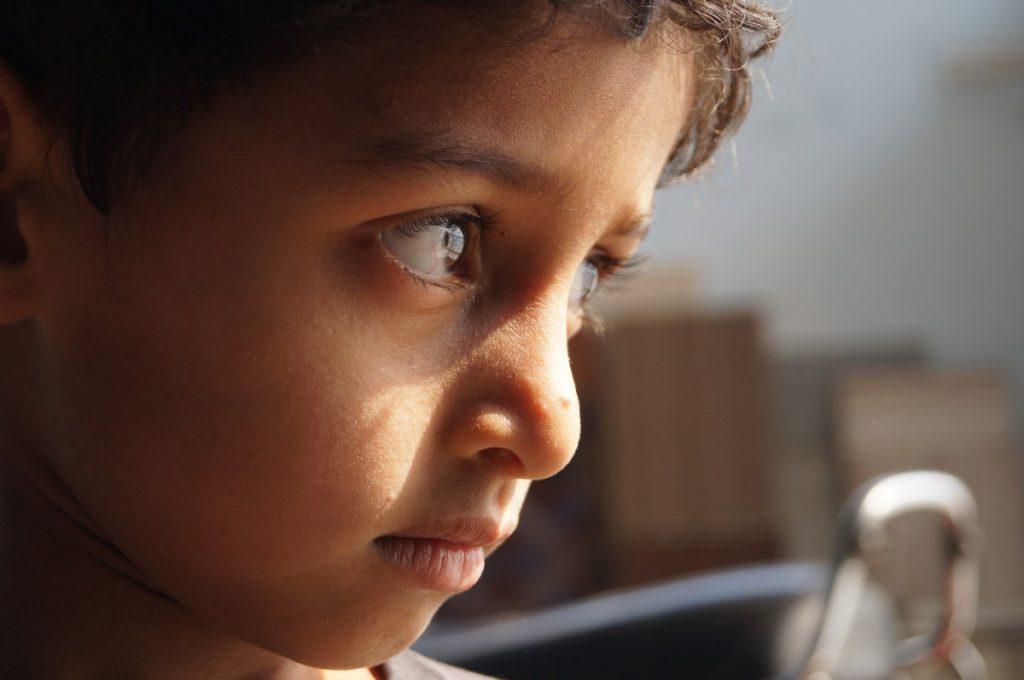 Boy with sad eyes.