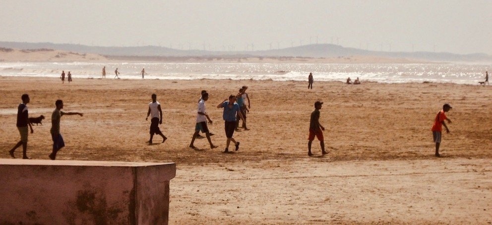 Football on Essaouira Beach Morocco.