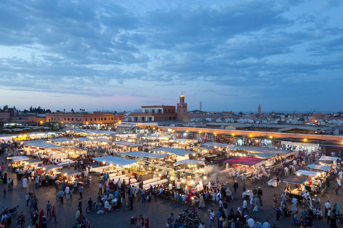 Jemaa el-Fnaa Marrakech by night.