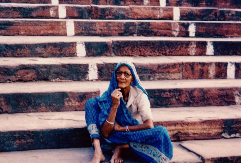 Old woman Jama Masjid Mosque New Delhi.
