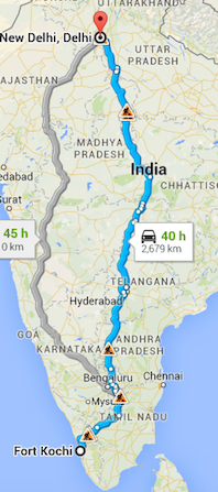 Train from Fort Kochi to New Delhi.