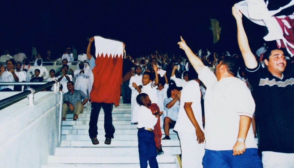 Home fans Khalifa International Stadium Doha 2001.