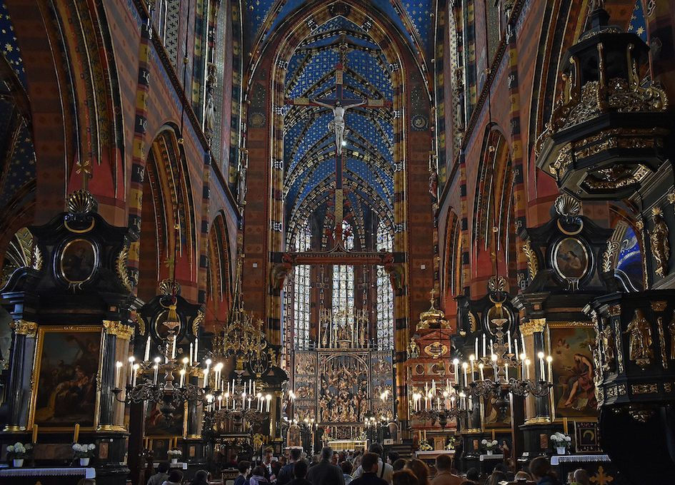 Inside St. Mary's Basilica Krakow.