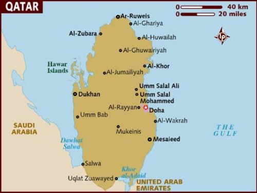 Map of Qatar Lonely Planet.