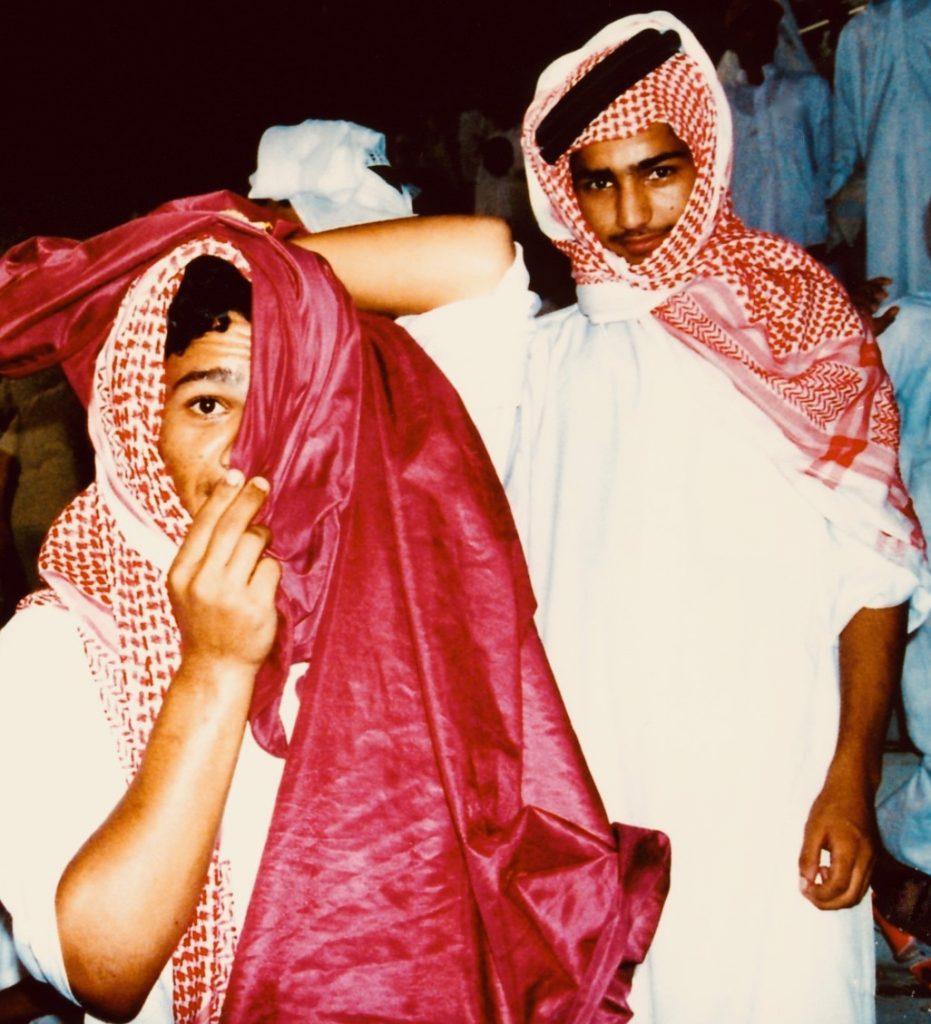 Qatari football fans Khalifa Stadium Doha 2001.