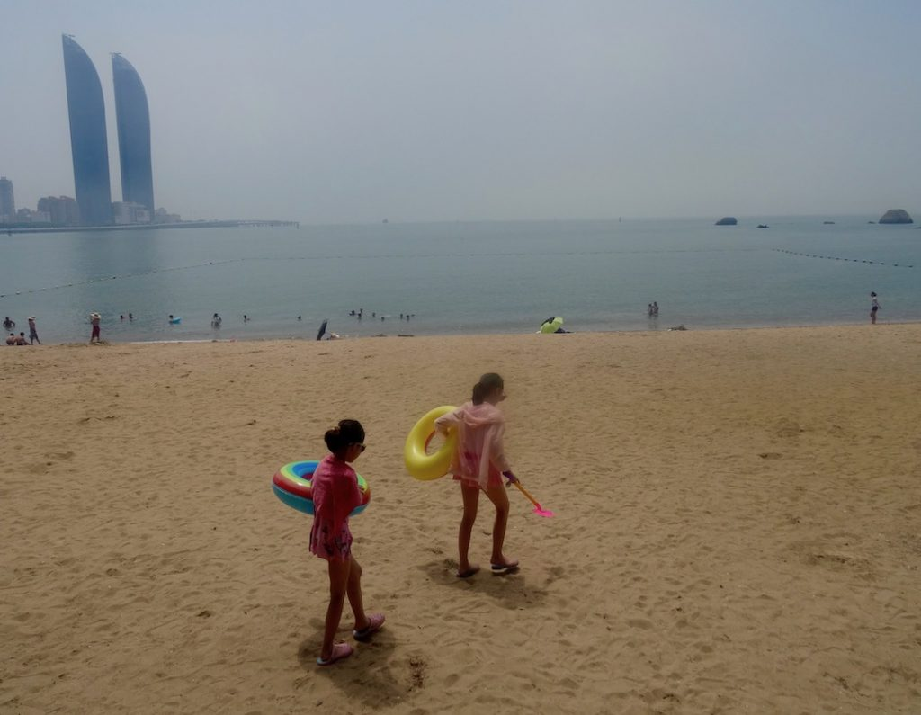 Swimming beach Gulangyu Island China.