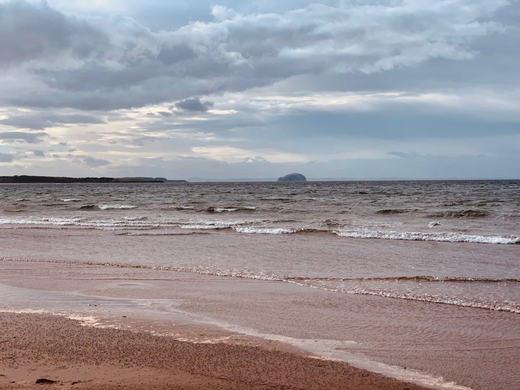 Bass rock from Belhaven Beach East Lothian Scotland.