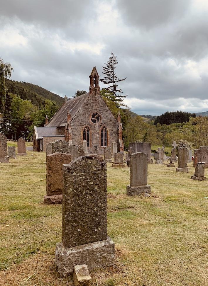 Caddonfoot Parish Church Graveyard Scotland.