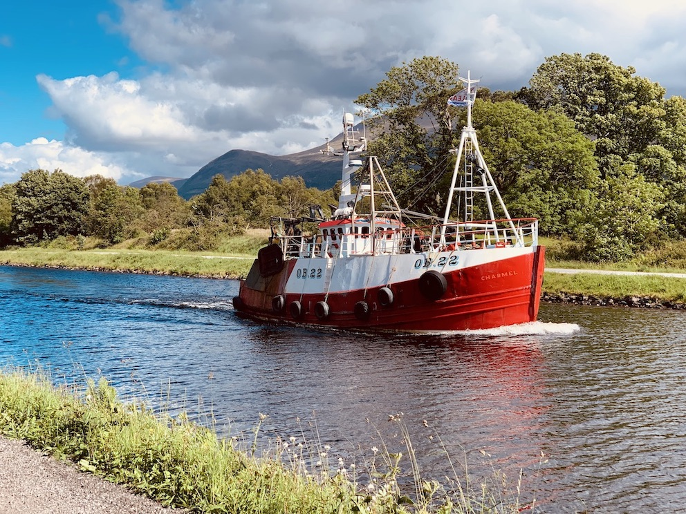Caledonian Canal boat cruise Banavie Scotland.