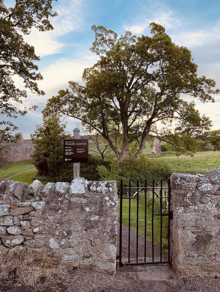 Entrance gate Hailes Castle Scotland.