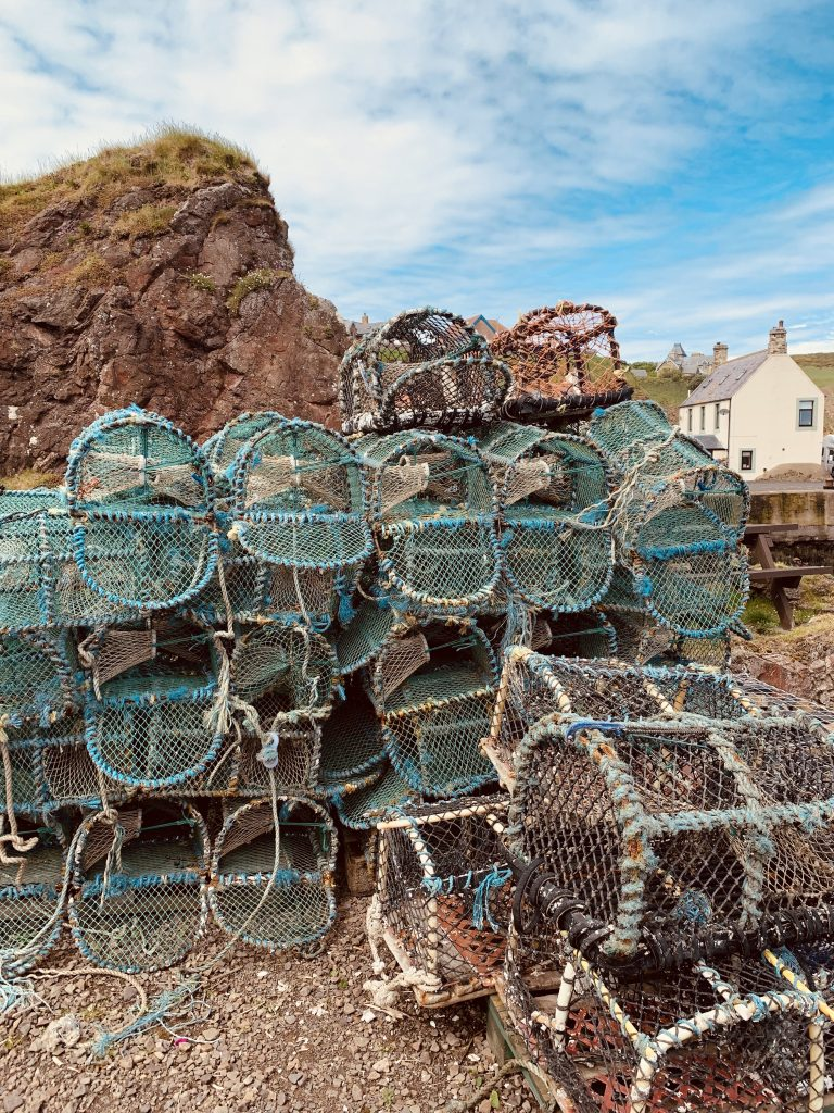 Fishing cages St Abbs Village Scotland.